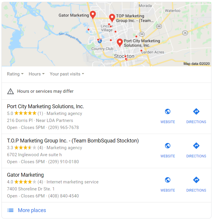 Google Search Map Pack result of Marketing Agency Stockton
